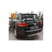 Защита заднего бампера Volkswagen Touareg (2010-) (одинарная) овал 76/42*