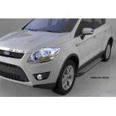 Пороги алюминиевые (Sapphire Silver) Ford Kuga (2008-2013)