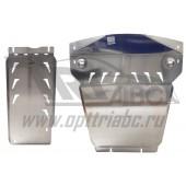 Защита картера двигателя и кпп BMW X5 V-3,5; 5,0; 3,0TD (2011-10.2013)  из 2-х частей, с пыльниками (Алюминий 4 мм)