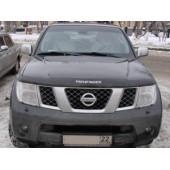 Дефлектор капота Nissan Pathfinder (Ниссан Патфайндер) (2004-2010) / Navara (2005-) (темный)