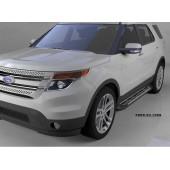Пороги алюминиевые (Corund Silver) Ford Explorer (2011-/ 2015-)