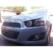 Защита радиатора Chevrolet Aveo 2012- black верх