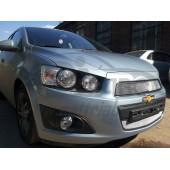 Защита радиатора Chevrolet Aveo 2012- chrome низ