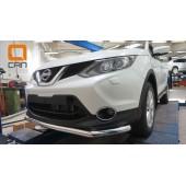Защита переднего бампера Nissan Qashqai (2014-) (одинарная) d60