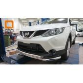 Защита переднего бампера Nissan Qashqai (2014-) (двойная) d60/60