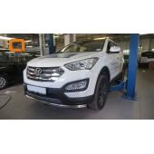 Защита переднего бампера Hyundai SantaFe (2012-/2015-) (одинарная) d60 (несовместима с защитой картера)