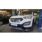 Защита переднего бампера Hyundai SantaFe (2012-/2015-) (двойная) d60/60  (несовместима с защитой картера)