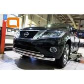 Защита переднего бампера Nissan Pathfinder (2014-) (двойная) d 76/60