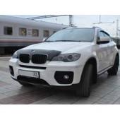 Дефлектор капота BMW X5 (2007-2013)/Х6 (2007-) узкий (темный)