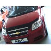 Дефлектор капота Chevrolet Aveo (Шевроле Авео) SD (2003-2011) / ZAZ Vida SD (темный)