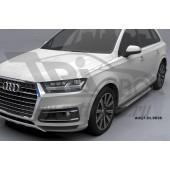 Пороги алюминиевые (Sapphire Silver) Audi (Ауди) Q7 (2015-) без панорамной крыши