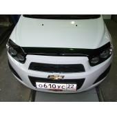 Дефлектор капота Chevrolet Aveo (Шевроле Авео) (2012-) (темный)