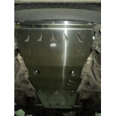 Защита днища Mitsubishi L-200 , V-2,5TD;АКПП (2006-)из 4х частей (картер, КПП, РК, топливный бак) (Алюминий 4 мм)