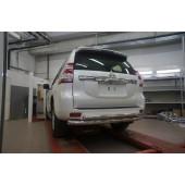 Защита заднего бампера Toyota Land Cruiser (Тойота Ленд Круизер) 150 (2009- /2014-) (двойная) d 76/60