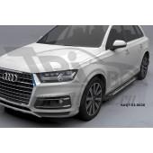Пороги алюминиевые (Corund Silver) Audi (Ауди) Q7 (2015-) без панорамной крыши