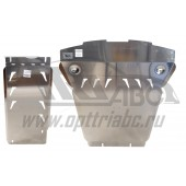 Защита картера двигателя и кпп BMW X6 V-3,0TD; 3,5 (2011-2014)  из 2-х частей (Алюминий 4 мм)