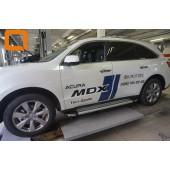 Пороги алюминиевые (Brillant)  Acura MDX (2014-) (серебр)