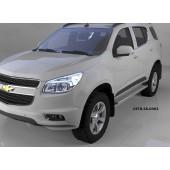 Пороги алюминиевые (Opal) Chevrolet TrailBlazer (2013-)