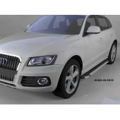 Пороги алюминиевые (Brillant) Audi (Ауди) Q5 (2009-) (черн/нерж)