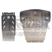 Защита картера двигателя и кпп BMW X5 V-3,5; 4,0; 5,0; 3,0TD, X5 M-пакет(10.2013-)/X6 V-все, кроме 5,0D(14-)+КПП, 2 части, с пыльниками(Алюминий 4 мм)
