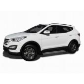 Пороги алюминиевые Hyundai SANTA FE (2012 - 05.2013) EGR (серебр)