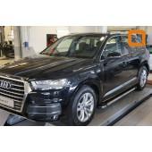 Пороги алюминиевые (Brillant) Audi (Ауди) Q7 (2015-) (черн/нерж) без панорамной крыши