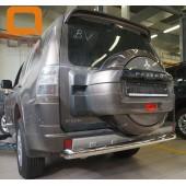 Защита заднего бампера Mitsubishi Pajero (Митсубиши Паджеро) IV (2011-2014/2014-) (одинарная) d 76