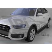 Пороги алюминиевые (Corund Black) Audi (Ауди) Q3 (2011-)
