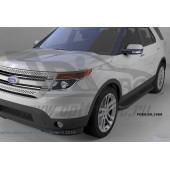 Пороги алюминиевые (Corund Black) Ford Explorer (2011-/ 2015-)