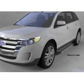 Пороги алюминиевые (Topaz) Ford Edge (2014-)