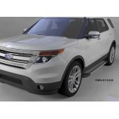 Пороги алюминиевые (Topaz) Ford Explorer (2011-)