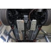 Защита днища Mitsubishi Outlander (Митсубиши Аутлендер)V-2.0;2.4;3.0(2013-10.2015) из 4част. (Алюминий 4 мм)