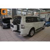 Защита заднего бампера Mitsubishi Pajero (Митсубиши Паджеро) IV (2011-2014/2014-) (уголки) d 76/42