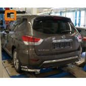 Защита заднего бампера Nissan Pathfinder (2014-) (уголки) d 76/42
