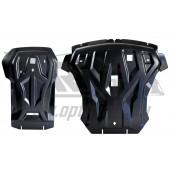 Защита картера двигателя и кпп BMW X6 V-3,5; 3,0TD (2011-2014)  из 2-х частей (Композит 8 мм)