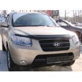 Дефлектор капота Hyundai Santa Fe (Хёндай Санта Фе) (2005-2012) (темный)