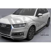 Пороги алюминиевые (Onyx) Audi (Ауди) Q7 (2015-) без панорамной крыши