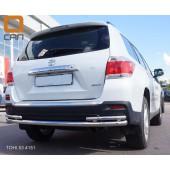 Защита заднего бампера Toyota Highlander (Тойота Хайлендер) (2010-2013) (одинарная с уголками) d 60/42