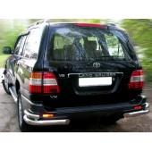 Защита заднего бампера Toyota Land Cruiser (Тойота Ленд Круизер) 100 (1998-2007) (уголки) d 70/48
