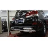 Защита заднего бампера Lexus LX570 (2014-2015 / 2015-) (двойная) d 76/60