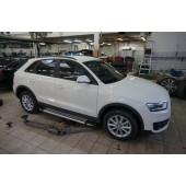Пороги алюминиевые (Brillant) Audi (Ауди) Q3 (2011-) (серебр)