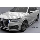 Пороги алюминиевые (Opal) Audi (Ауди) Q7 (2015-) без панорамной крыши