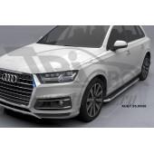 Пороги алюминиевые (Ring) Audi (Ауди) Q7 (2015-) без панорамной крыши