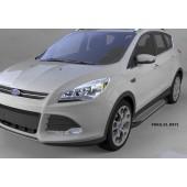 Пороги алюминиевые (Sapphire Silver) Ford Kuga (2013-)