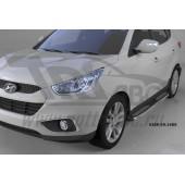 Пороги алюминиевые (Zirkon) Hyundai IX-35 (2009-2015)/ Kia Sportage (Киа Спортаж) III (2010-)