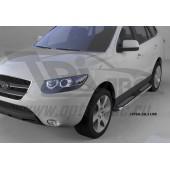 Пороги алюминиевые (Zirkon) Hyundai Santa Fe (Хёндай Санта Фе) (2006-2010-2012) кроме Тагаз