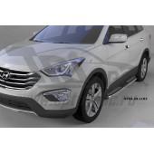 Пороги алюминиевые (Zirkon) Hyundai Santa Fe (Хёндай Санта Фе) (2012-/2013-/2015-)