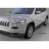 Пороги алюминиевые (Zirkon) Jeep Cherokee (2014-)