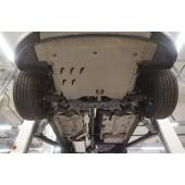 Защита днища Hyundai Santa Fe (Хёндай Санта Фе) V-все (2012-2015-) 4 части, на а/м без бок. Подножек (Алюминий 4 мм)