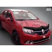 Дефлектор капота Renault Logan (Рено Логан) (2014-) / Sandero (Сандеро) (2014-) (темн.)
